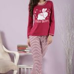 2018 Pijama Takımları Kırmızı Desenli Altı Çizgili