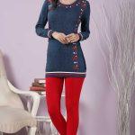2018 Pijama Takımları Kırmızı Mavi İki Renkli Desenli