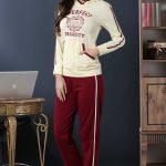 2018 Pijama Takımları Kırmızı Sarı Kapşonlu Baskılı Yazılı