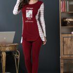 2018 Pijama Takımları Kırmızı Yuvarlak Yada Yazılı