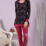 2018 Pijama Takımları Kırmızı Yuvarlak Yaka Desenli