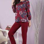2018 Pijama Takımları Kırmızı Yuvarlak Yaka Gül Desenli