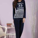 2018 Pijama Takımları Lacivert Desenli ve Yazı Detaylı