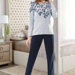 2018 Pijama Takımları Lacivert Gri İki Renkli Çiçek Desenli