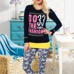 2018 Pijama Takımları Lacivert Siyah İki Renkli Desenli