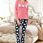 2018 Pijama Takımları Lacivert Yavruağzı İki Renkli Kalp Desenli
