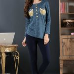2018 Pijama Takımları Lacivert Yuvarlak Yaka Cep Detaylı