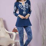 2018 Pijama Takımları Lacivert Yuvarlak Yaka Desenli