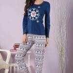 2018 Pijama Takımları Lacivert Yuvarlak Yaka Kar Desenli