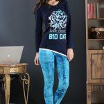 2018 Pijama Takımları Mavi Lacivert İki Renkli Desenli