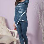 2018 Pijama Takımları Mavi Yuvarlak Yaka Çapraz Kesim
