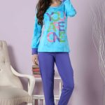 2018 Pijama Takımları Mor Turkuaz İki Renkli Yazılı