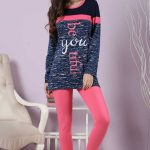 2018 Pijama Takımları Pembe Lacivert İki Renkli Yazılı