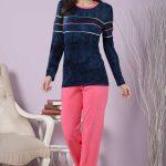 2018 Pijama Takımları Pembe Lacivert İki Renkli Çizgili