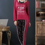 2018 Pijama Takımları Vişne Askılı Yuvarlak Yakalı Desenli