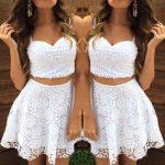 Abiye Elbise Beyaz Kısa Askılı Güpür Dantel Göbeği Açık