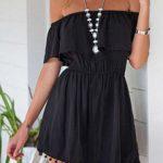 Abiye Elbise Siyah Kısa Omzu Açık Etekleri Pon Pon Süslü