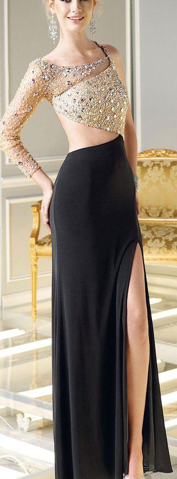 Abiye Elbise Siyah Uzun Simetrik Kesim Sırt Dekolteli