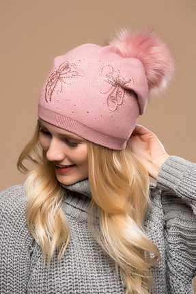 2021 Kışı İçin En Güzel Bayan Bere Modelleri Pembe Kelebek İşlemeli Pon Ponlu