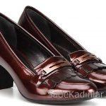 Hotiç Ayakkabı Modelleri Bordo Topuklu Deri Önden Püsküllü