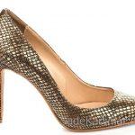 Hotiç Ayakkabı Modelleri Gold Topuklu Deri Desenli