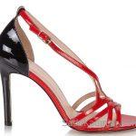 Hotiç Ayakkabı Modelleri Kırmızı Siyah Topuklu Çapraz Bantlı