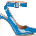Hotiç Ayakkabı Modelleri Mavi Topuklu Arkası Açık Bilekten Bağlamalı