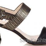 Hotiç Ayakkabı Modelleri Siyah Gold Topuklu Yandan Tokalı