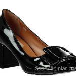 Hotiç Ayakkabı Modelleri Siyah Topuklu Rugan Önden Tokalı