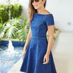Kot Elbise Modelleri Kayık Yaka Kısa Kollu Kloş Etek