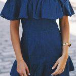 Kot Elbise Modelleri Omzu Açık Kısa Fırfırlı Omuz