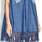 Kot Elbise Modelleri Sıfır Kol V Yakalı Etekleri Püsküllü