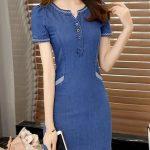 Kot Elbise Modelleri Yuvarlak Yaka Kısa Önden Düğmeli