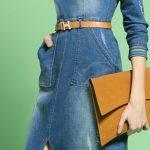Kot Elbise Modelleri Yuvarlak Yaka Uzun Kemerli Yırtmaçlı