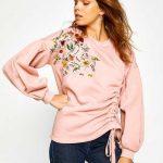 Koton 2017 2018 Sonbahar Kış Koleksiyonu Kazak Ve Hırka Modelleri Pudra Sweatshirt Büzgülü Nakış İşlemeli