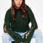 Koton 2017 2018 Sonbahar Kış Koleksiyonu Kazak Ve Hırka Modelleri Yeşil Kazak Yuvarlak Yaka Kollar Çapraz Bağcıklı