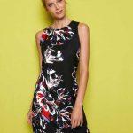 2018 Koton Elbise Modelleri Siyah Kısa Kolsuz Çiçek Desenli