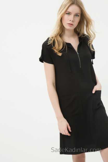 ca2d21ccaa131 2018 Koton Elbise Modelleri Siyah Kısa V Yaka Fermuarlı Kapşonlu Kısa Kollu