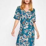 2018 Koton Elbise Modelleri Yeşil Kısa Çiçek Desenli Kısa Kollu