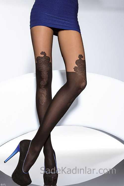 Külotlu Corap Modelleri Siyah Dizlerden Desenli