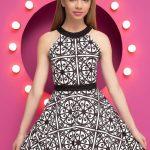 Mezuniyet Elbise Modelleri Beyaz Kısa Halter Yaka Kemerli Geometrik Desenli