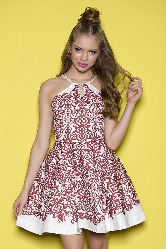 Çocuk Abiye Kıyafet Modelleri Modelleri Beyaz Kısa Halter Yaka Kloş Etek Tarçın Renk Desenli