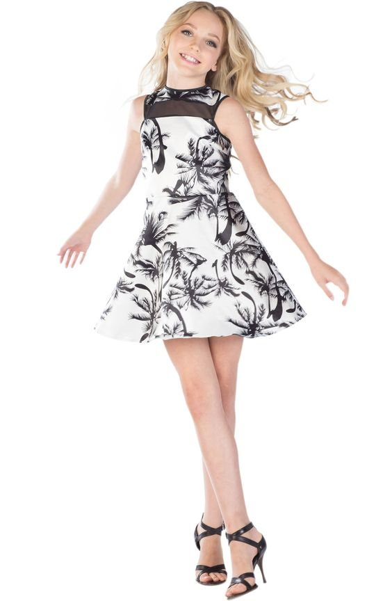 Çocuk Abiye Kıyafet Modelleri Modelleri Beyaz Kısa Kolsuz Palmiye Ağaç Baskı Desenli