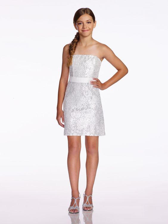 Çocuk Abiye Kıyafet Modelleri Modelleri Beyaz Kısa Straplez Pul Payetli Kemerli