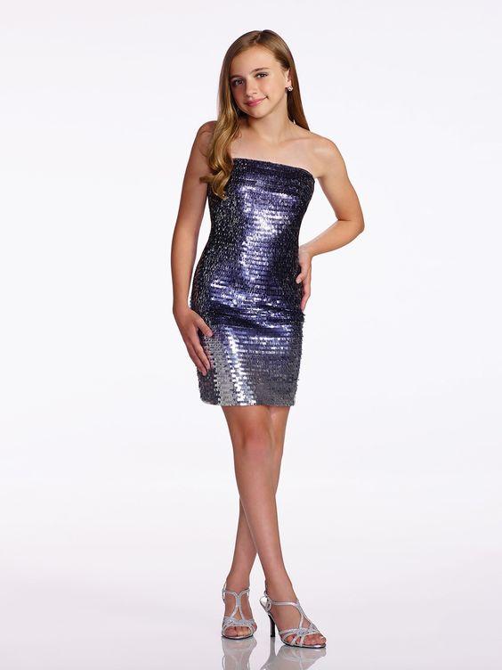 Çocuk Abiye Kıyafet Modelleri Modelleri Gümüş Kısa Straplez Pul Payetli Ombre Kumaş