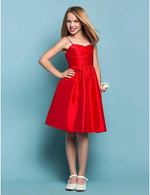Mezuniyet Elbise Modelleri Kırmızı Diz Boyu Askılı Kloş Etek Saten