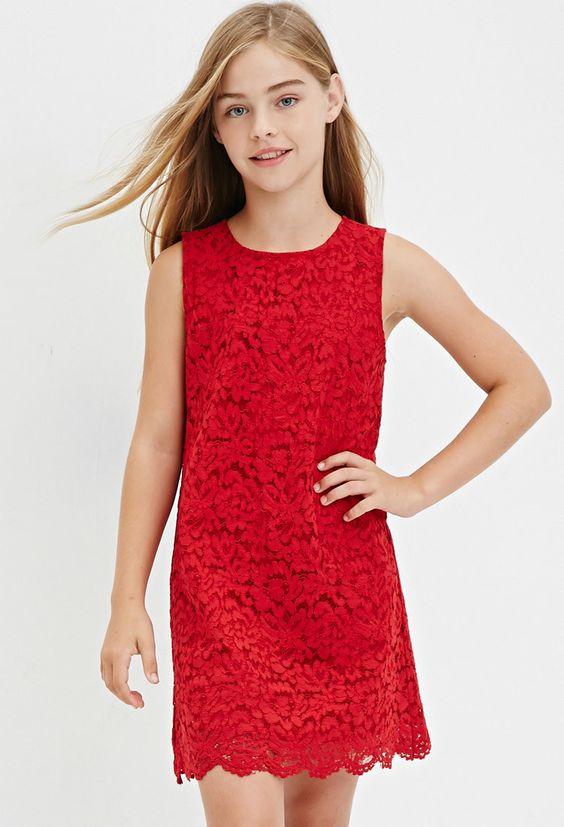 Çocuk Abiye Kıyafet Modelleri Modelleri Kırmızı Kısa Kolsuz Güpür Dantel Kumaş