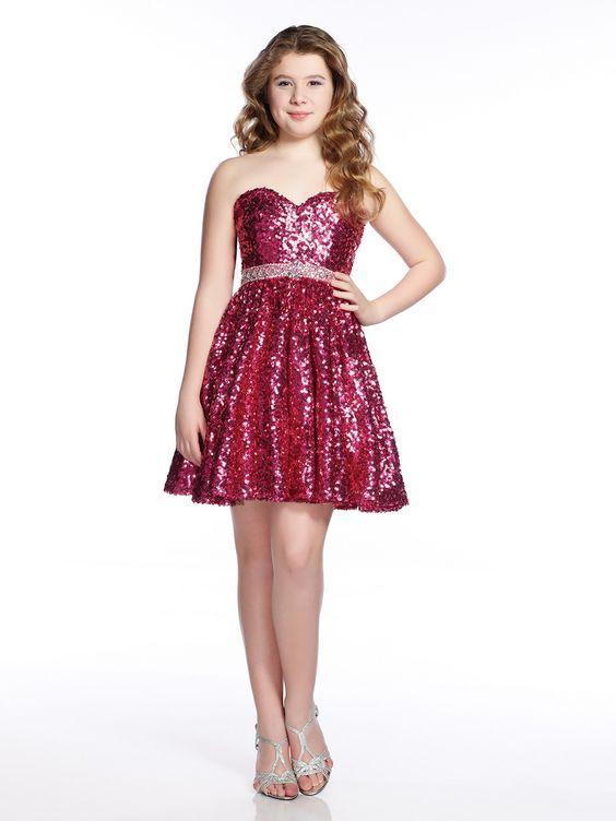 Mezuniyet Elbise Modelleri Kırmızı Kısa Straplez Kalpli Yaka Pul Payetli Kemerli