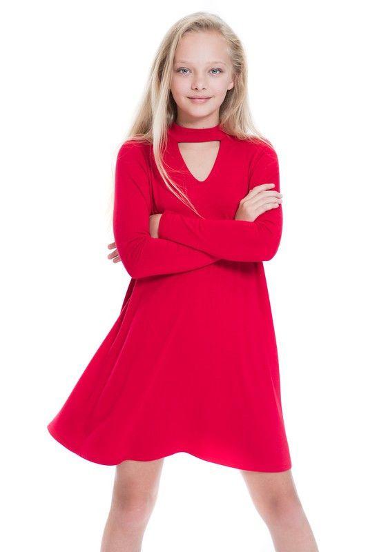 Çocuk Abiye Kıyafet Modelleri Modelleri Kırmızı Kısa Uzun Boyun Askılı V Yaka Açıklığı Sade
