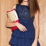 Mezuniyet Elbise Modelleri Lacivert Kısa Kolsuz Eteği Üç Katlı Pul Payetli